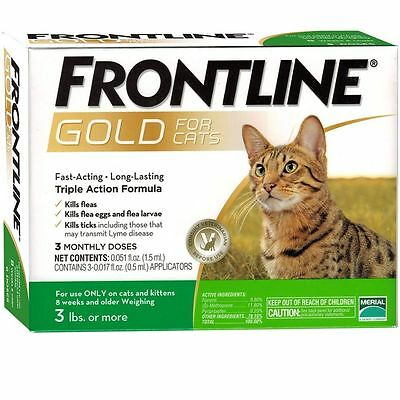 Frontline Gold For Cats And Kittens Over 3 Lbs 3 Doses Plus  Free Shipping
