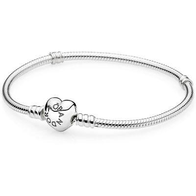 """Authentic Pandora Silver Charm Bracelet w/ Heart Clasp 590719 -20cm/ 7.9"""" W/ BOX"""