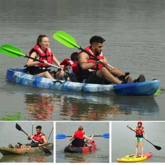 3.7M Family 2.5 Persons Double Kayak Canoe Boat 6 Rod Holders Pad