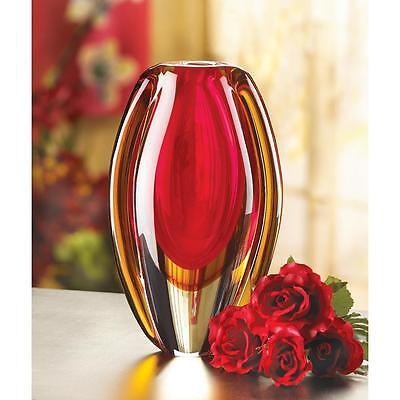 SUNFIRE GLASS FLOWER DECORATIVE RED ORANGE VASE DECOR~12117