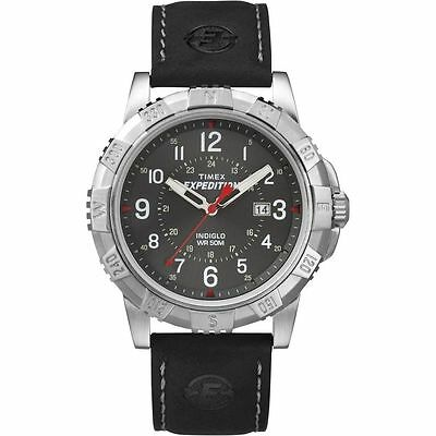"Timex T49988, Men's ""Expedition"" Black Leather Watch, Indiglo, Date, T499889J"
