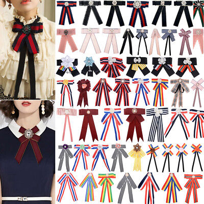 Women Blouse Bow Tie Necktie Striped Ribbon Pendant Shirt Collar Tie Brooch Striped Bow Tie