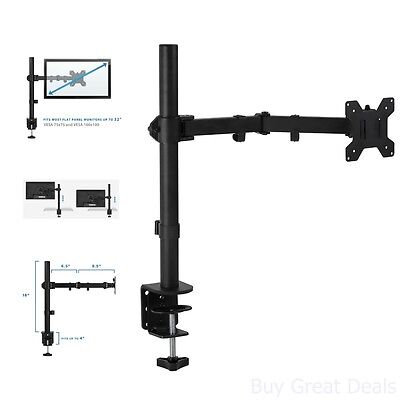 Computer Monitor Arm Mount Single Desk Swivel LED LCD TV Screen Holder Best (Best Swivel Tv Mount)