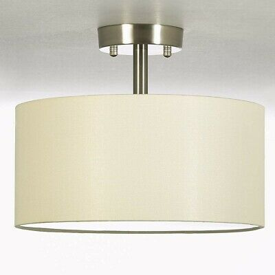 Drum Light Fixture Semi Flush Mount Ceiling Chrome Contemporary Fabric 2 -