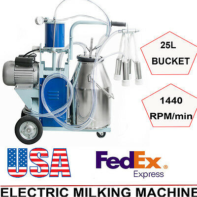Electric Milking Machine Milker Cattle Bucket 25l Vacuum Piston Pump 64min Fda
