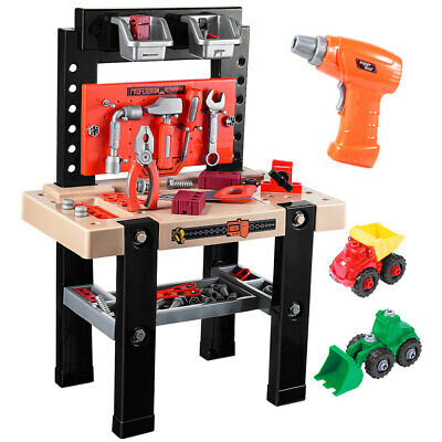 91pcs Kids Pretend Play Toy Tool Workshop Bench Table Set DIY Workbench
