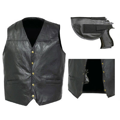 Biker Vest Concealed Carry Genuine Leather Motorcycle CCW w/