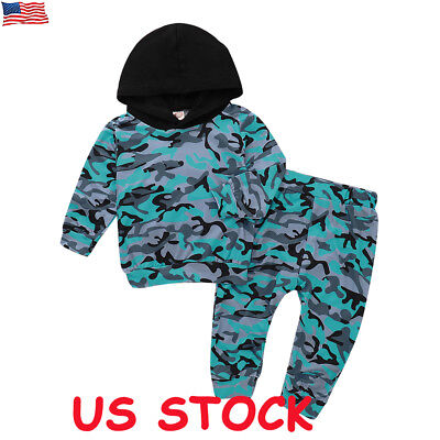 US Newborn Boys Girls Camo Hoodie Tops + Pants Legging Baby Outfits Set Clothes