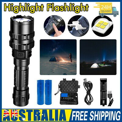 Tactical Flashlight USB Rechargeable CREE L2 LED Camping Hunting Torch 100000LM