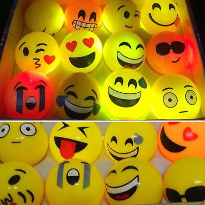 1/10pcs LED Bouncy Ball Emoji Flashing Children Toy Funny Gift Party Favors (Ball Emoji)