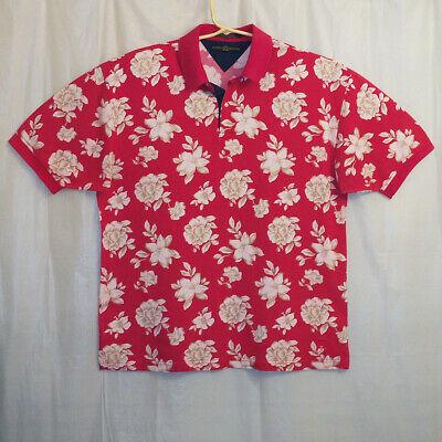 Tommy Hilfiger Polo Shirt Men's Large L Red Floral Short Sleeve