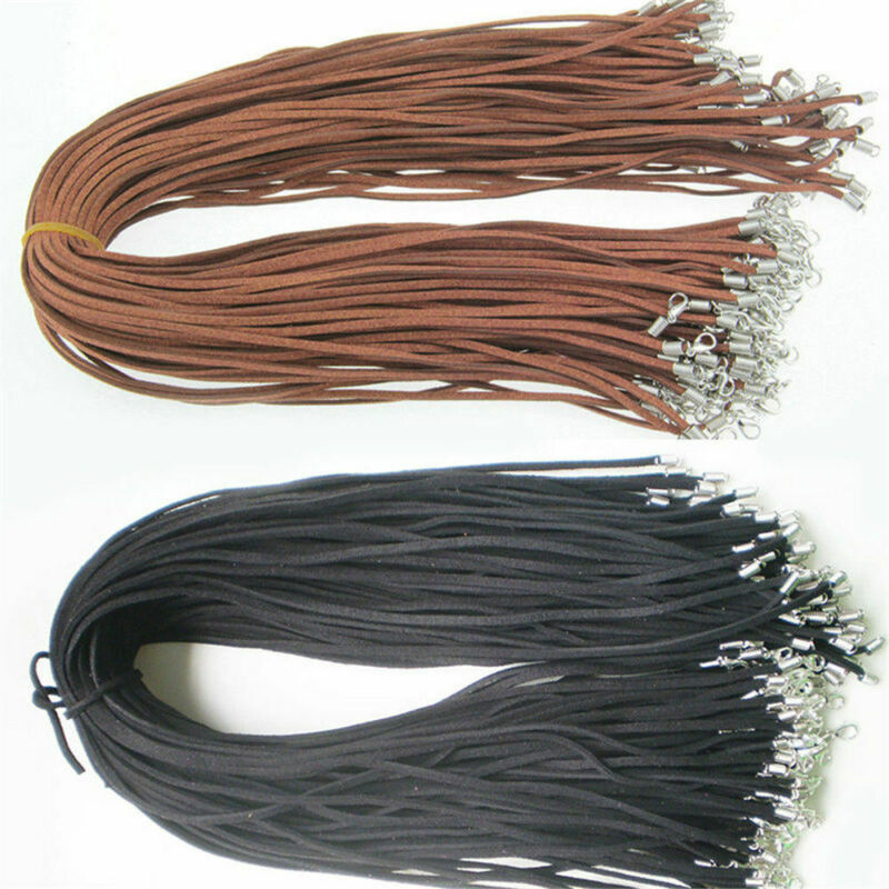10pcs Black Brown Suede Leather String Necklace Cord Chain J