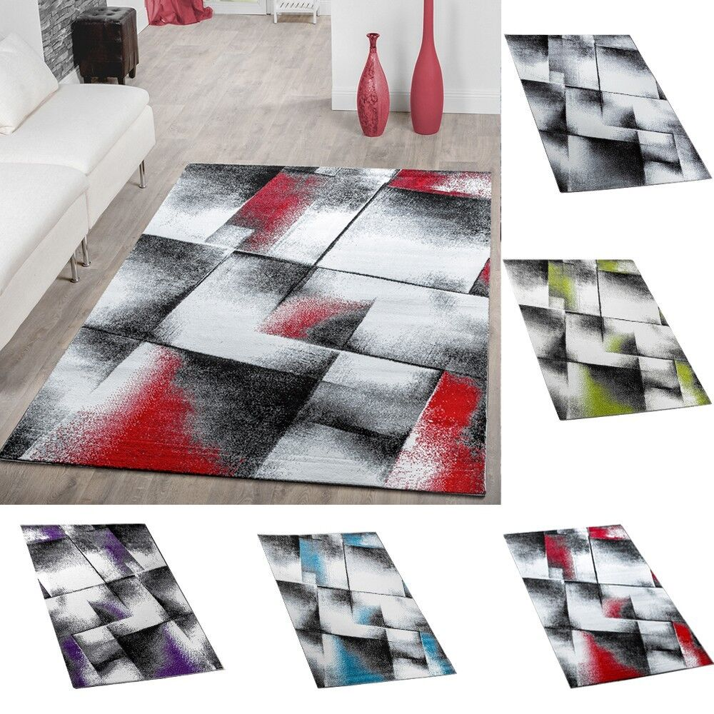 Designer Teppich Wohnzimmer Modern Kurzflorteppich Meliert In Versch. Farben