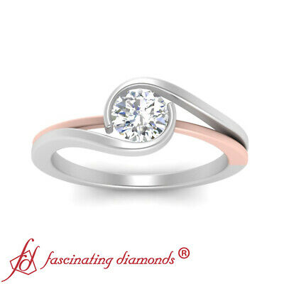 3/4 Carat Round Cut Diamond 2 Tone Swirl Split Shank Solitaire Engagement Ring 1