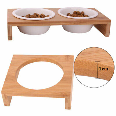 Non Slip Bamboo Bowl Pet Dog Cat Puppy Food Water Drink Feeder Feeding Dish -