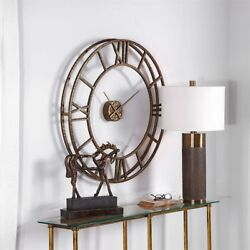 Aged Gold Hammered Metal 3 Dimensional Cage Gallery Wall Clock Large 36