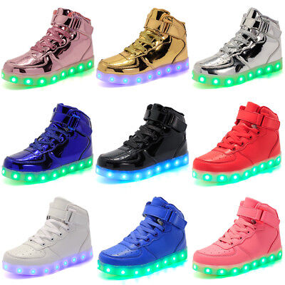 Kids Gift Children Boys Girls 7 LED Light Up Casual Shoes USB Luminous Sneakers