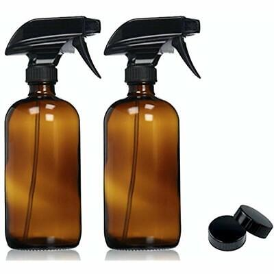 Empty Amber Glass Spray Bottles with Labels 2 Pack - 16oz Re