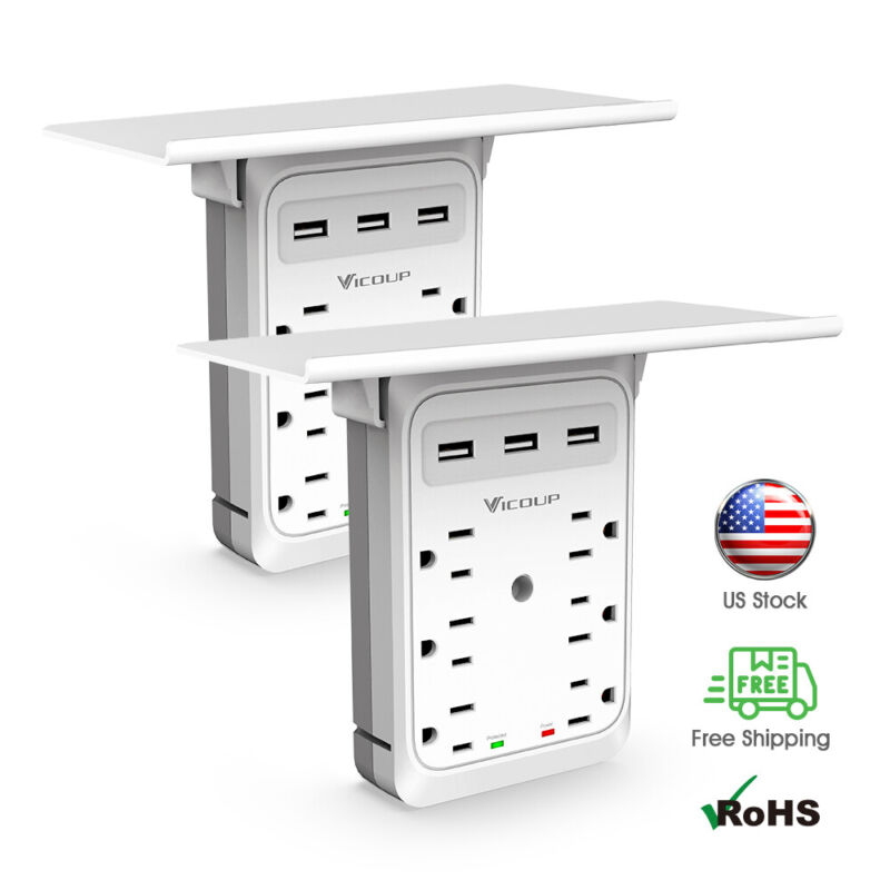 1/2PACK Multi-Function Wall Plug Socket with Shelf Surge Protector 6 Outlet 2USB