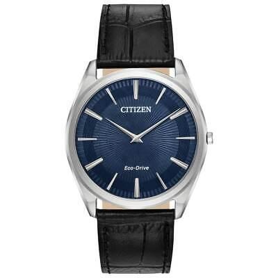 - Citizen Eco-Drive Men's Stiletto Blue Pattern Dial 38mm Watch AR3070-04L