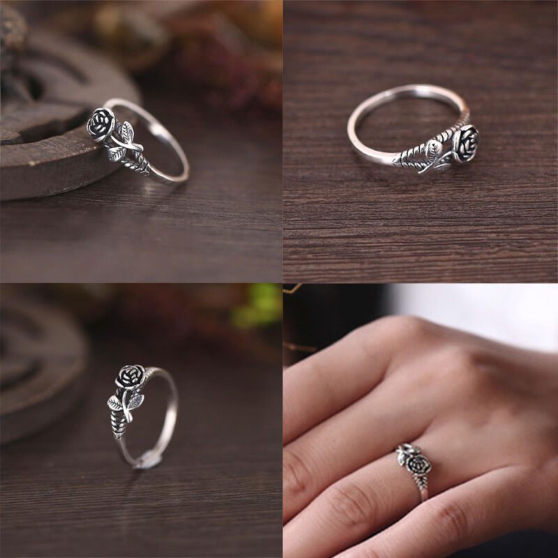 Argent 925 Femme Fashion Fleur Réglable Taille Open Band Ring Jewelry Gift