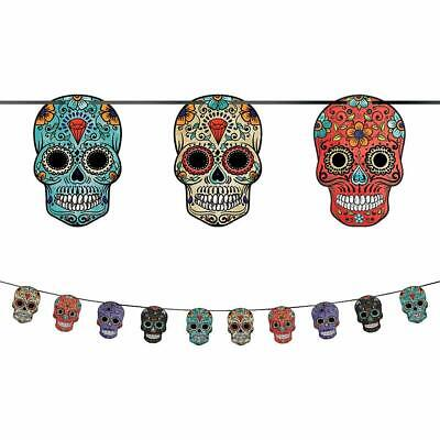 Halloween Birthday Banner (SUGAR SKULL Wall BANNER Room Decoration Halloween Party Day of the Dead)