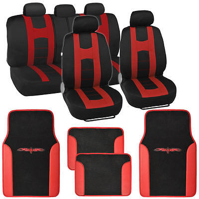 Complete Set Car Seat Covers and 2 Tone Vinyl Mats Black / Red Front and Rear