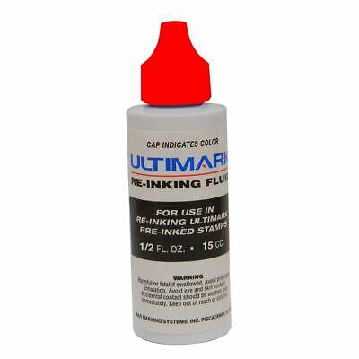 Ultimark Pre-inked Stamp Ink Red .5 Oz Drip Spout Bottle
