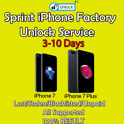 SPRINT PREMIUM FACTORY UNLOCK SERVICE CODE FOR IPHONE 7/7+