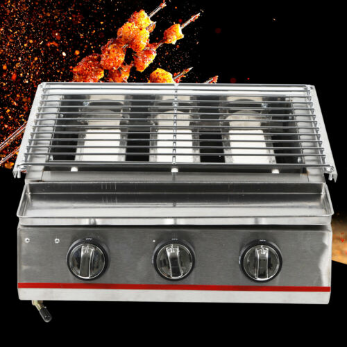 3 burner portable stainless steel bbq table