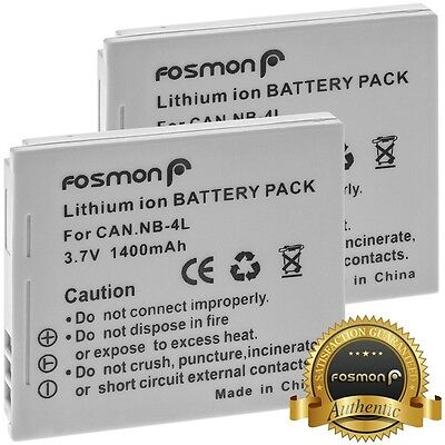 2 PACK Fosmon 1400mAh High Capacity NB-4L Replacement Battery Pack for Canon