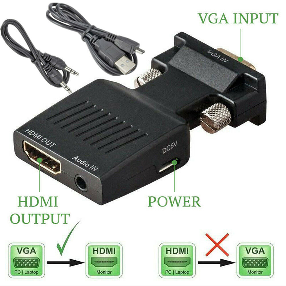 VGA to HDMI Adapter Audio Cable Male VGA to Female HDMI Conv