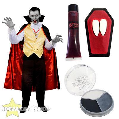 Halloween Face Paint Vampire For Men (ADULTS VAMPIRE HALLOWEEN MENS FANCY DRESS COSTUME SHIRT FANGS BLOOD FACE)