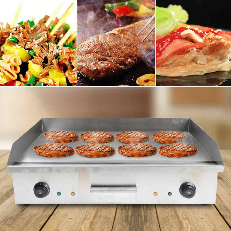 Commercial Electric Food Griddle Grill Countertop Flat BBQ Grill Cooking 4400W
