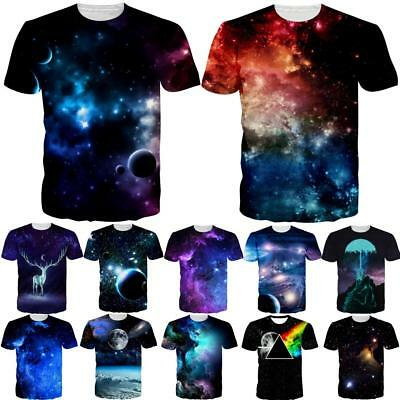 Nebula Galaxy Space 3D Printed Womens Mens Crew Graphic T Shirts Casual Tee Tops
