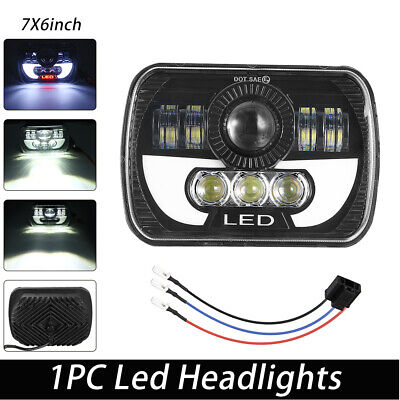 "5x7""/7x6"" LED Projector Headlamp High/Low Beam Fits Jeep Wrangler Cherokee XJ YJ"