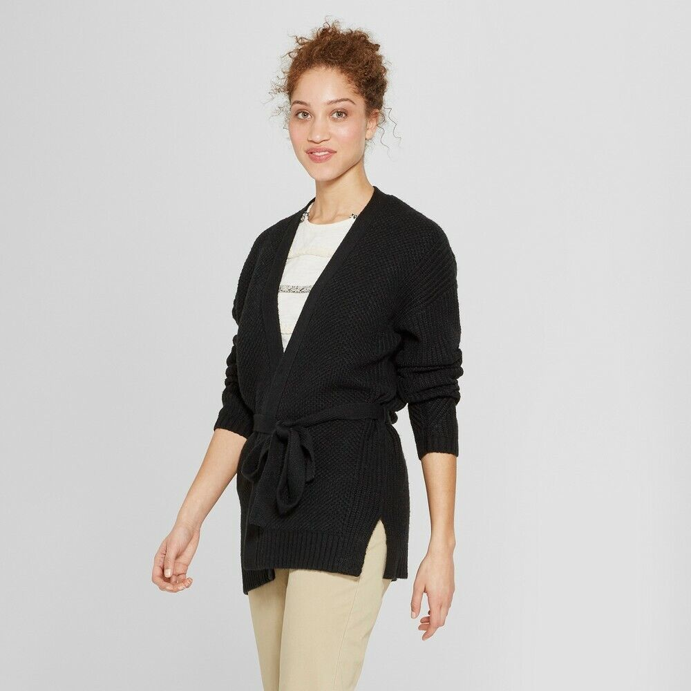 A New Day Women's Belted Cardigan Sweater, Black, Large Clothing, Shoes & Accessories