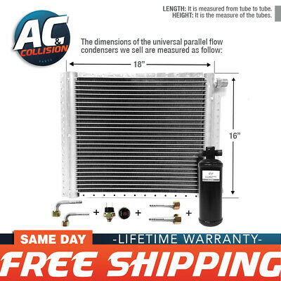 CNFP1618KT Kit AC A/C Universal Condenser Parallel Flow 16 x 18 Oring with Drier