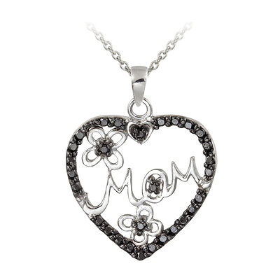 Treated Black Diamond Accent Mom Heart Necklace in Sterling Silver Diamond Mom Necklace
