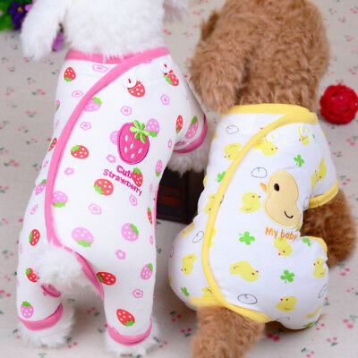 Embroidery Cat Dog Pajamas Soft Cotton Small Pet Clothes Apparel Puppy Jumpsuit - Small Dog Costumes