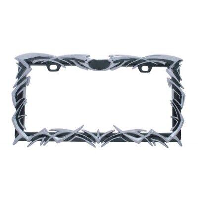 Tribal Flame License Plate Frame - Black/Chrome - Universal Car Truck Big - Flame License Plate