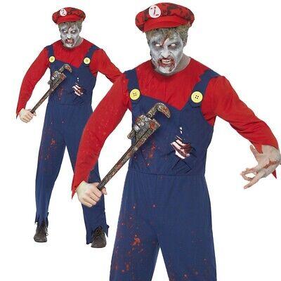 Zombie Halloween Costume Male (Zombie Plumber Costume Adult Mario Halloween Mens Fancy Dress Male)