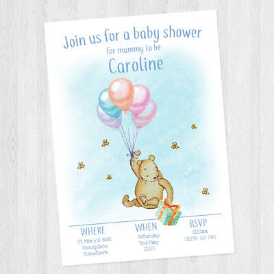 10 x PERSONALISED BABY SHOWER WINNIE THE POOH INVITATIONS BABY GIRL / BOY UNISEX - Personalized Winnie The Pooh Baby Shower Invitations