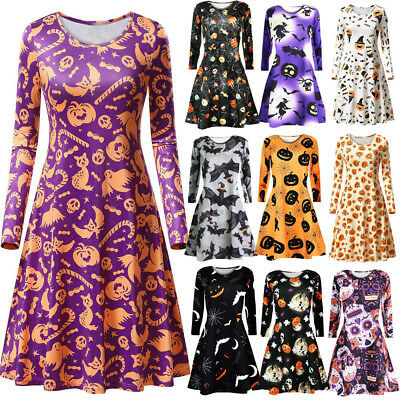 Long Dress Halloween Costumes (Women Long Sleeve Halloween Print Evening Party Costume Swing Cocktail Dres)