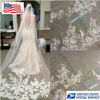 3 M Length Ivory White Cathedral Lace Edge Bride Wedding Bridal Veil + Comb New Edge Cathedral Length Veil