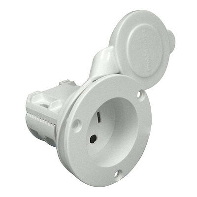 ProMariner Marine Boat Weatherproof AC Plug Holder Receptacle/Socket (White) Promariner Ac Plug Holder