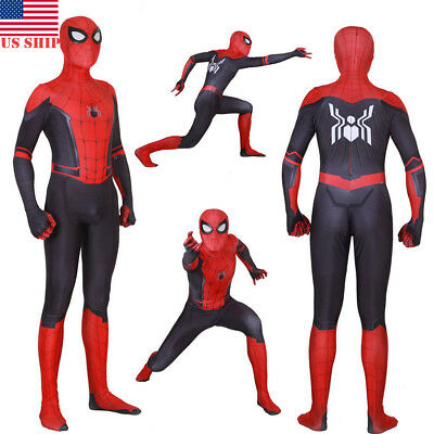 Cosplay Men (US!Spider-Man Far From Home Adult Kids Peter Parker Zentai Cosplay Costume)