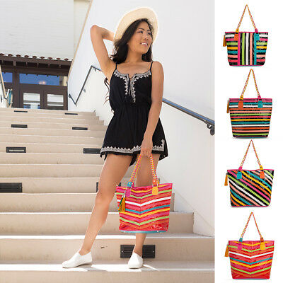 VanGoddy Women Lady Patent Leather Stripe Tote Hobo Shoulder Bag Handbag Satchel