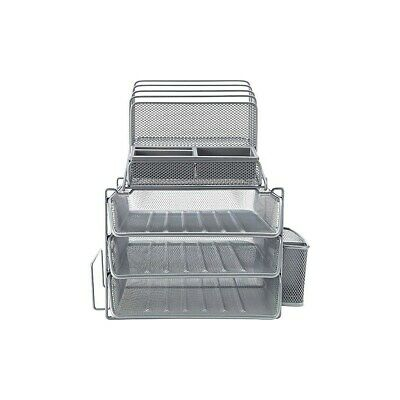Staples All-in-one Silver Wire Mesh Desk Organizer 27642 1483998
