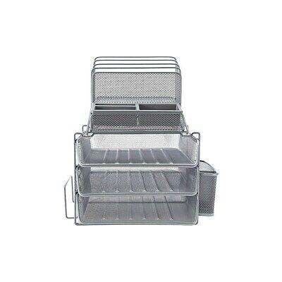 Staples All-in-one Silver Wire Mesh Desk Organizer 27642 1483998